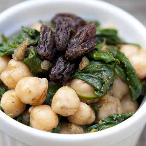 Salad Recipes - Warm Spinach & Chickpea Salad