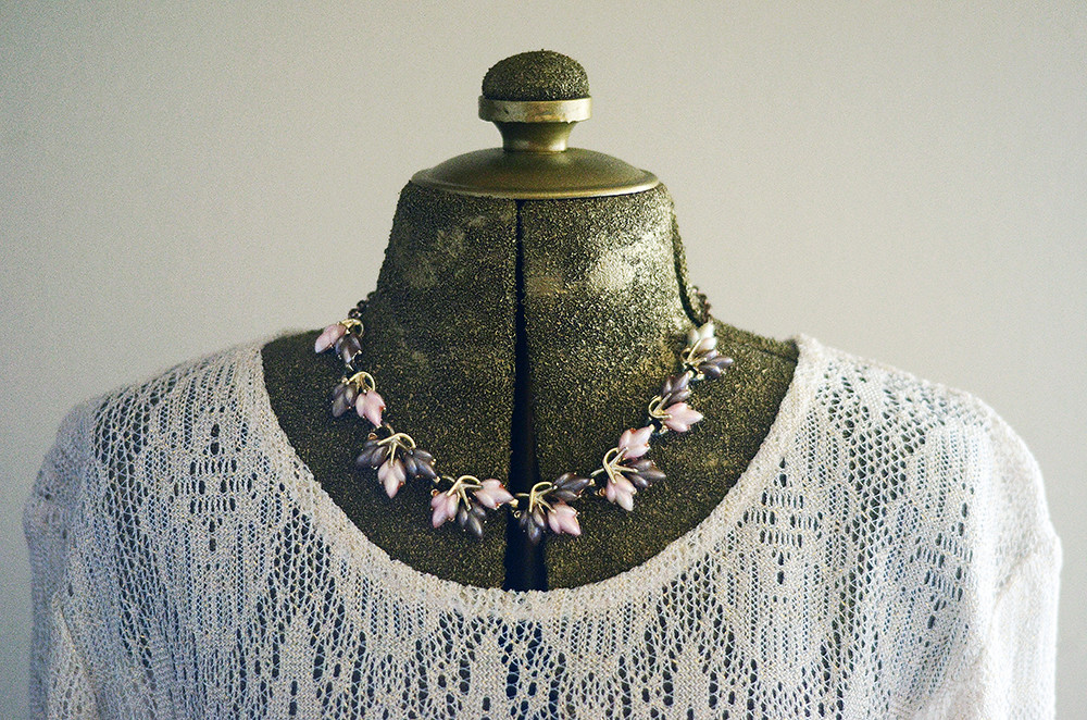 Vintage Pink and Purple Cluster Necklace