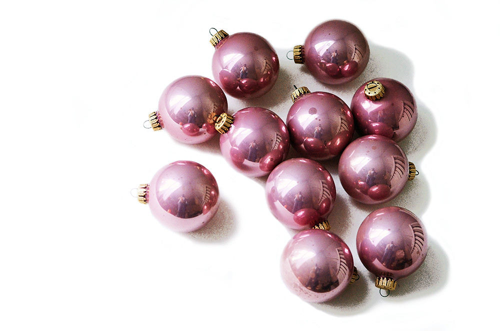 Eleven Vintage Pink Glass Ball Ornaments