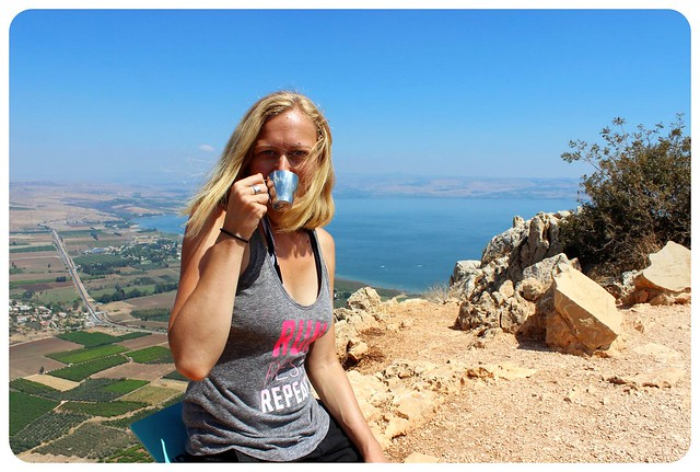 israel national trail mount arbel dani with coffee
