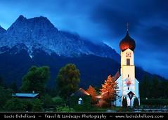 Germany - Bavaria - Grainau Church against the Zugspitze mountain at Dusk - Twilight - Blue Hour