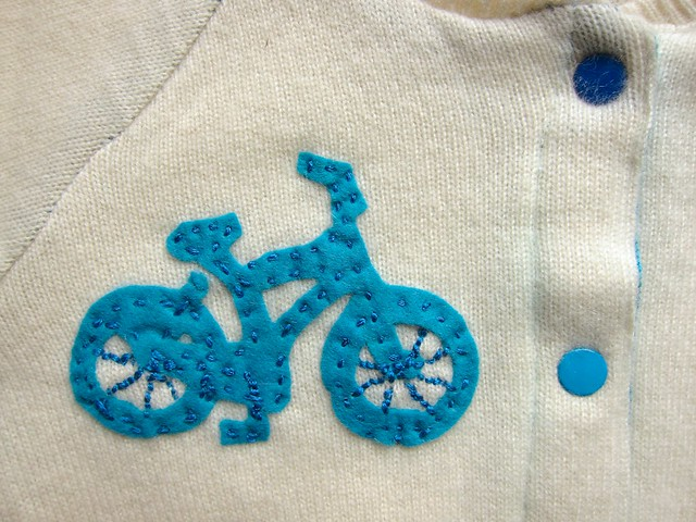 Cashmere Baby Cardigan with Bike Appliqué and Matching Hat