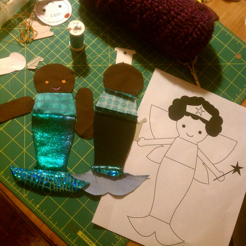 Dollmaking adventures: Mermaid Superhero Fairy doll with Afro in progress...