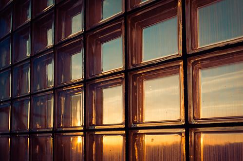 sky window glass sunrise grid stairwell honey lattice glassbricks