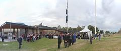 Panorama: MADE replica Eureka flag raising at dawn - Eureka160-IMG_9317-IMG_9320