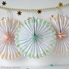 Hand painted and glittered paper fans 1