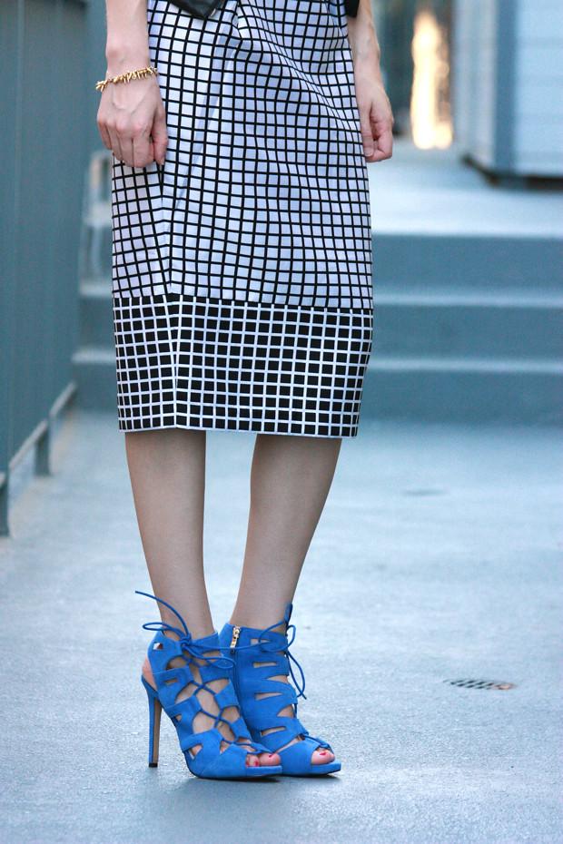 blue suede heels, midi skirt