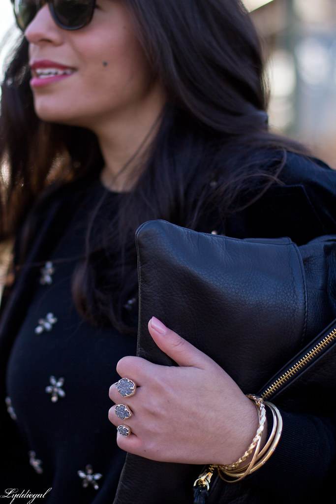 Black bejeweled sweater, velvet blazer, skirt, trainers-1.jpg