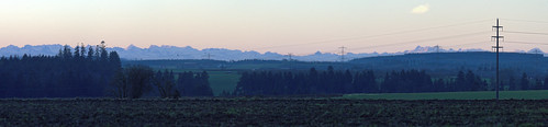 morning sunset panorama mountains alps early