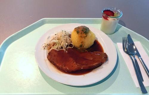 Pork roast in dark beer sauce with cabbage salad & dumpling / Schweinebraten in Dunkelbiersauce mit hausgemachten Krautsalat & Kartoffelknödel