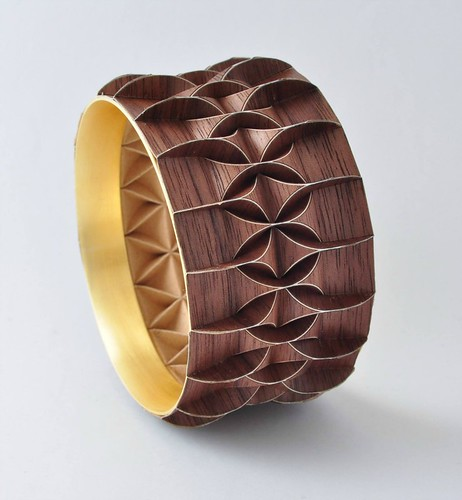 Gold Coated Folded Brass Bracelet with Wood Overlay by Ilan Garibi