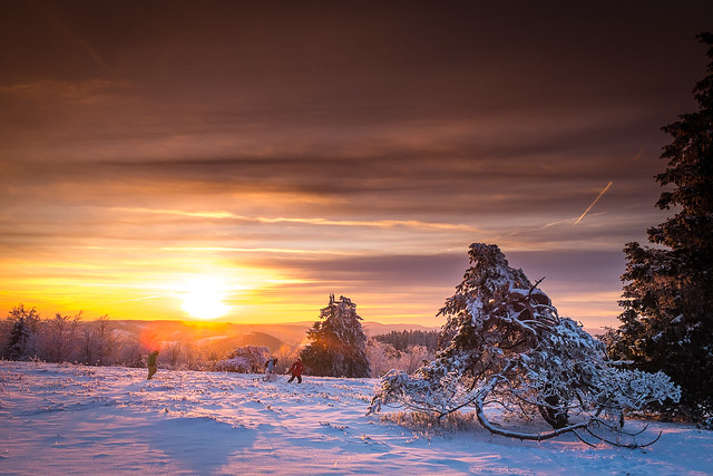 Picture of the Day #144 - The sun is setting over an iced cold Landscape