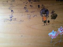 doodle - zvíře - tvář - dívka - motýl - květiny - geometrické tvary - text