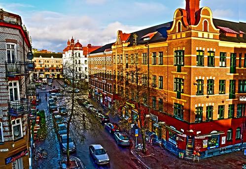 street city sky sunlight cars buildings sweden hdr streetview möllevången malmö̈