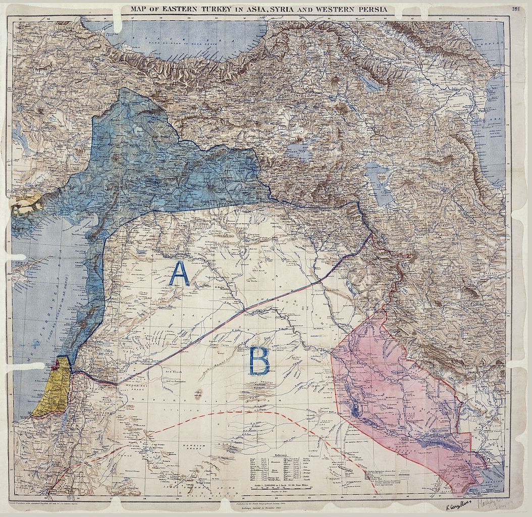 The Map That Changed the Middle East 1916 The Public Domain Review