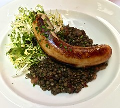 white sausage and lentils Cafe Claude