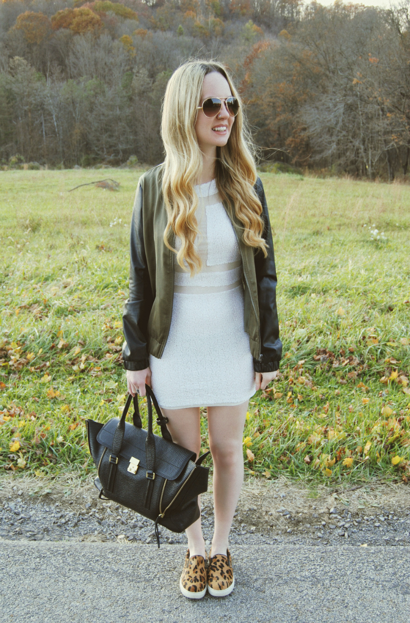 WhiteSequinBodyconDress__PhillipLimPashliBag_GuessBomberJacket_SteveMaddenLeopardPonyHair