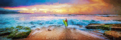 seascape landscape colorful day cloudy surfer maui impression oilpaint alienskin