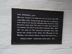 Photo of The Windmill Inn, Stratford-upon-Avon, William Shakespeare, and Susanna Hall black plaque
