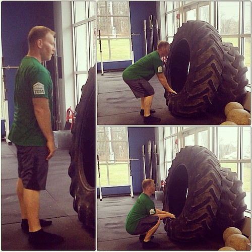 """Day 2 #Spartan30 the Assisted Deep Squat with low grab.  AKA the """"Jackknife"""" squat!  Goal is to use the low hold (12"""" height or so) to pull yourself down into a deep squat.  Use the low hold as needed to stand up.  Keep feet flat on the ground and work on"""
