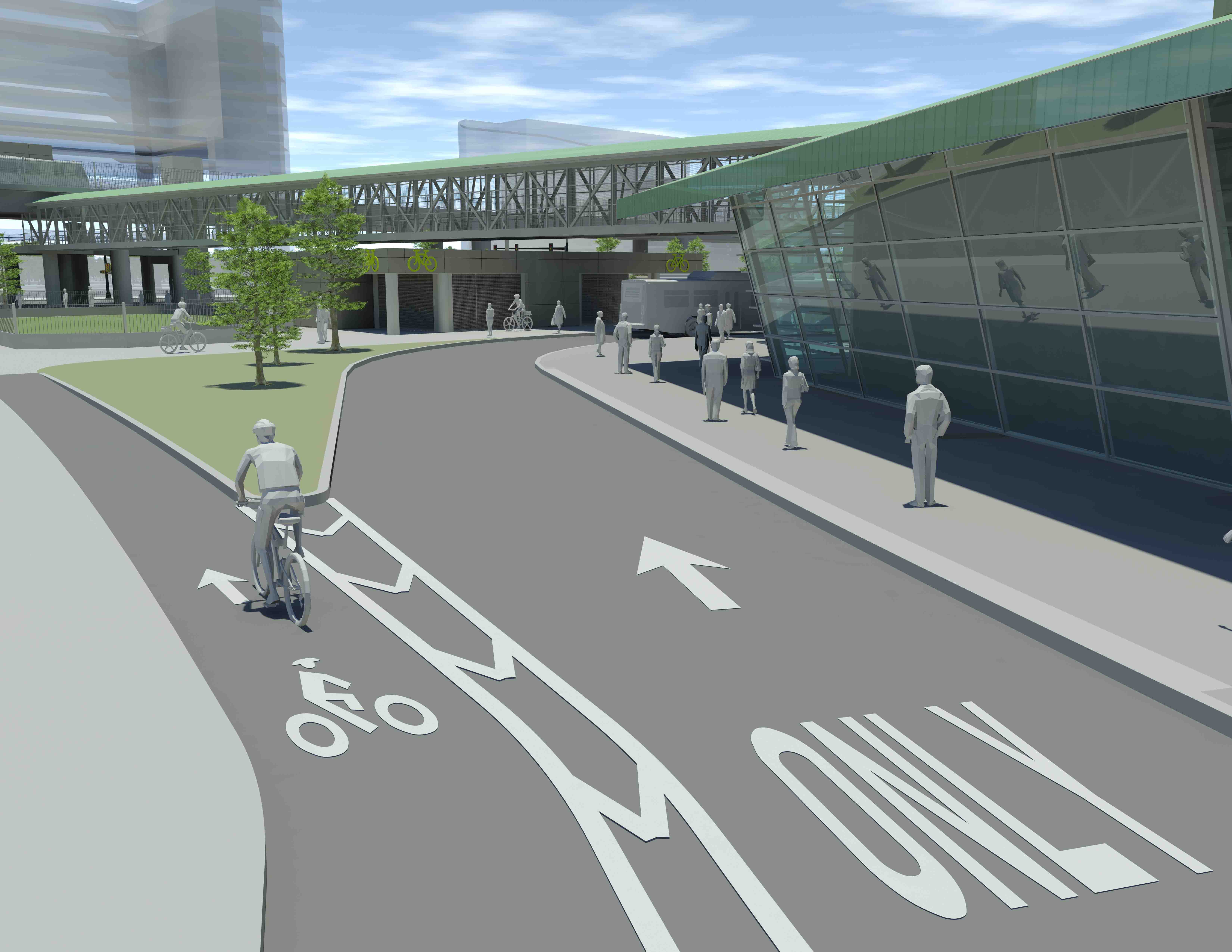 Rendering showing Milpitas BART Station bike access.