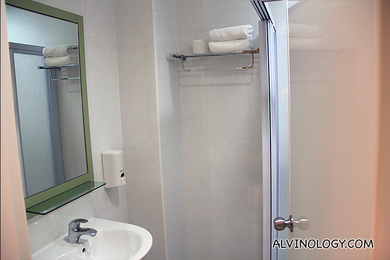 Very clean bathroom with shower stall, wash basin and WC