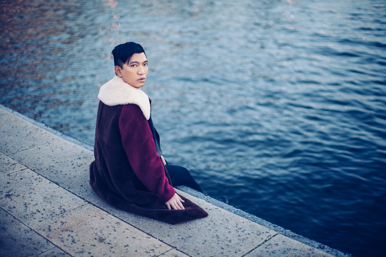Multi-color 3.1 Phillip Lim shearling coat worn by Bryanboy in Stockholm, Sweden