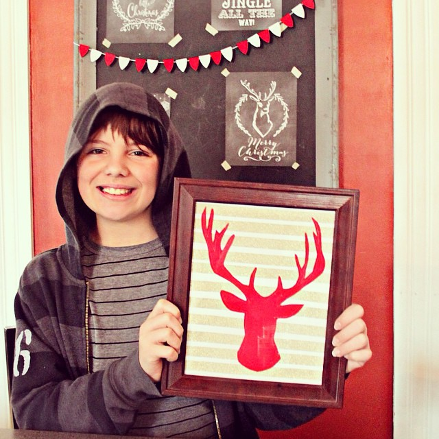 I love that Kaiden's getting crafty with his @pinterest finds! He used red felt and the awesome glittery gold @cloud9fabrics washi tape I brought back from Quilt Market to make this stag head silhouette!