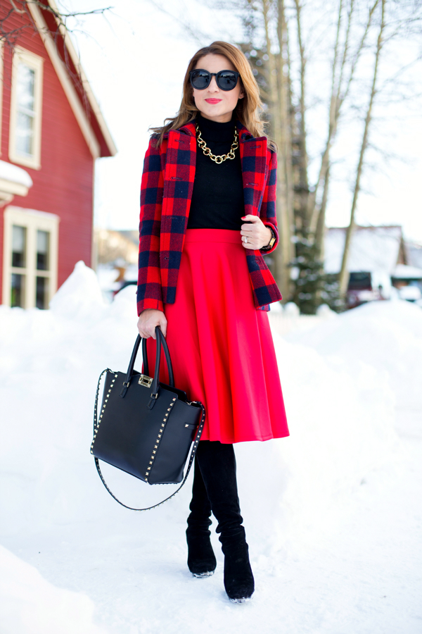 Red midi skirt + tall boots