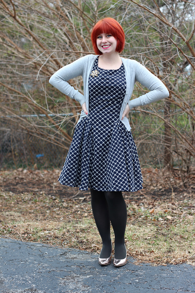 Modcloth All About the Ambiance Dress with Gray Cardigan and Rose Gold Heels