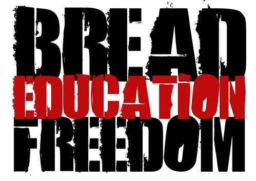 Bread Freedom Education - slogan of the Athens Polytechnic uprising of 1973 - Greece