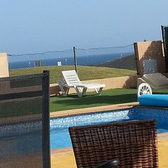 This is my view for the next fortnight: weve arrived safely at the Fuerteventura villa with Kasias family :-)