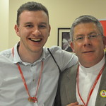 Pilgrimage leader Fr Paul McDermott with a pilgrim
