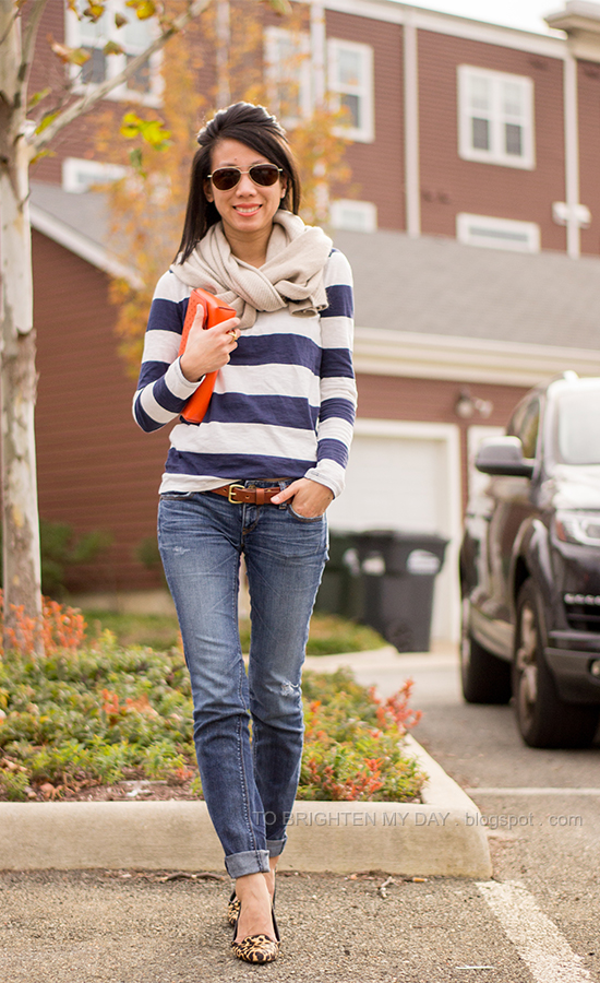 chunky knit scarf, rugby striped tee, orange clutch, leopard flats