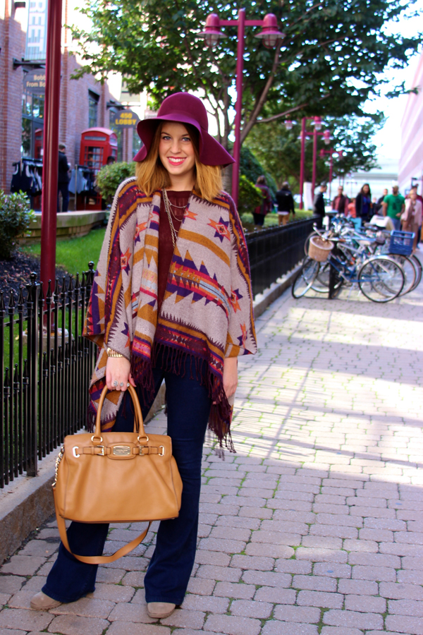 sowa vintage market outfit, how to wear a blanket poncho, boston fashion blogger