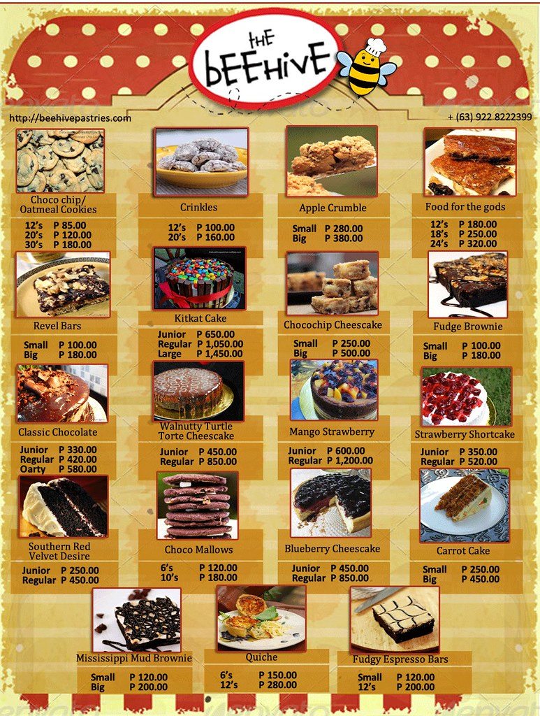 Beehive Pastries Pricelist