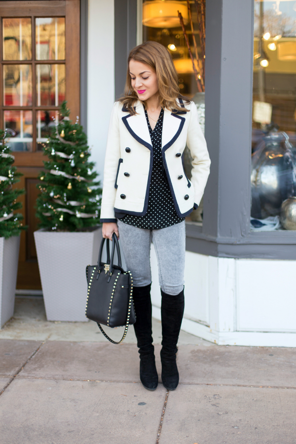 Tipped peacoat & tall boots