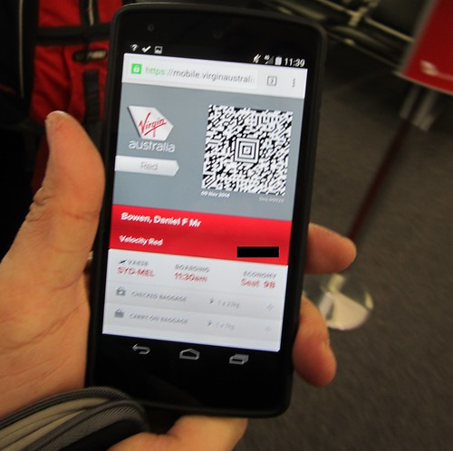 Virgin boarding pass on mobile phone