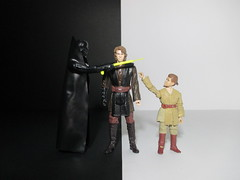 Fernando Rivera López has added a photo to the pool:This shot represents the internal conflict of Anakin Skywalker, situated at the center of the image. At the right side, Anakin child is a metaphor of the innocence and goodness. Instead , Darth Vader, at the left side, represents the choice of the dark side of the force and, therefore, the perdicción and self-destruction, as it is Indicated by the laser in front of Anakin's neck..