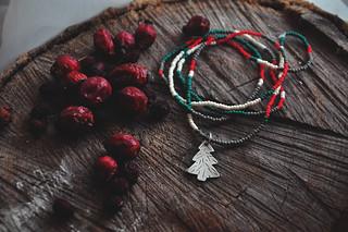 christmas tree silver pendant on bead strand
