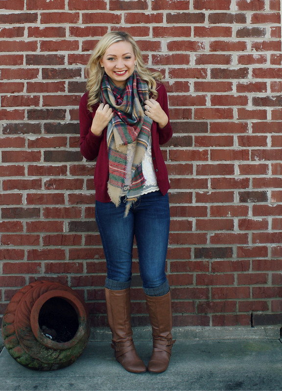plaid scarf + lace + cardigan