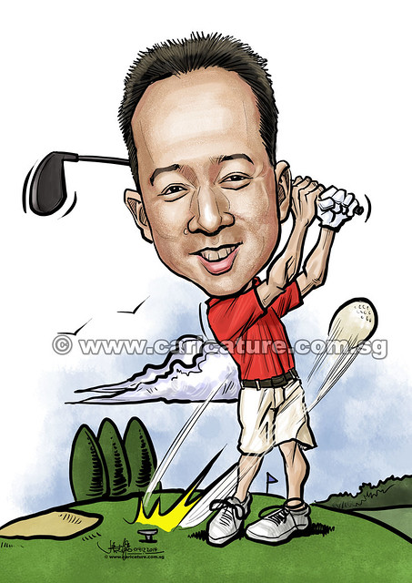 digital golfer caricature for Dow Chemical Pacific (Singapore) Pte Ltd (watermarked)