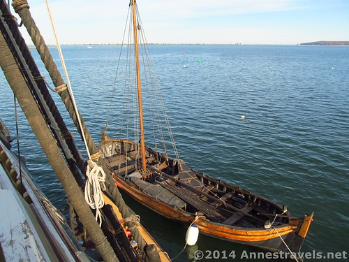 The dingy next to the Mayflower II, Plymouth Harbor, MA