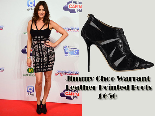 Lisa Snowdon in Jimmy Choo Warrant Leather Pointed ankle Boots with a Herve Leger dress