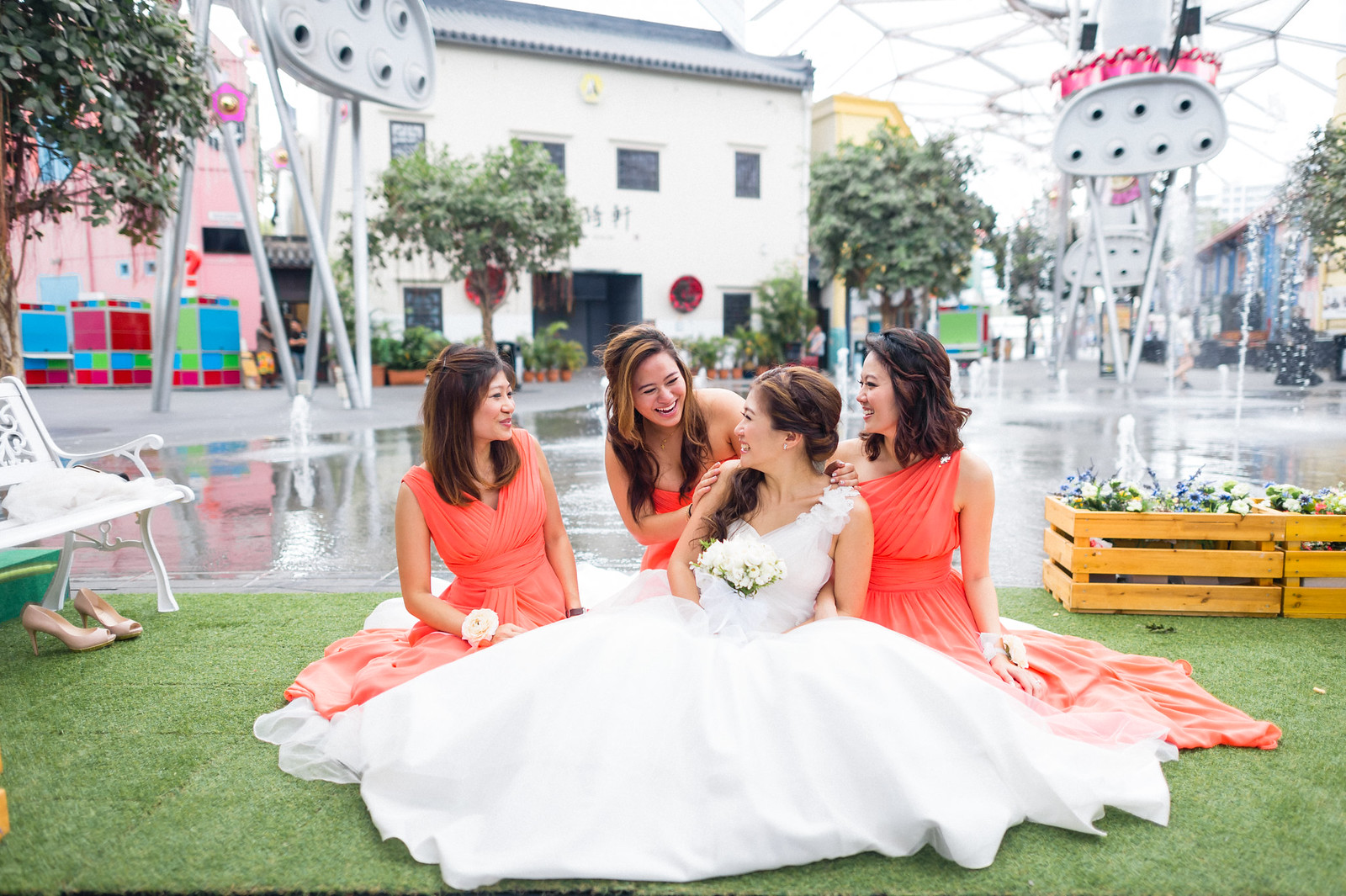 Multifolds, actual day wedding, wedding day, marriage, Shane and Nikki, church wedding, Amanda Lee Weddings, Catholic church, wedding vow, wedding ring, gown, The bridal party, Clarke quay