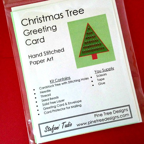 Christmas Card Kit - Hand Stitched Paper Embroidery from Pine Tree Designs