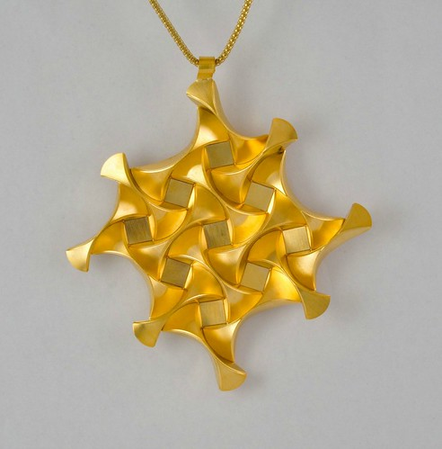 Gold Coated Brass Pendant by Ilan Garibi