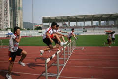 middle-distance running(0.0), physical exercise(0.0), sprint(1.0), athletics(1.0), track and field athletics(1.0), sport venue(1.0), 110 metres hurdles(1.0), championship(1.0), obstacle race(1.0), 100 metres hurdles(1.0), sports(1.0), running(1.0), hurdle(1.0), stadium(1.0), hurdling(1.0), athlete(1.0),