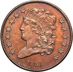 Lot 187 1831 Proof Half Cent obverse