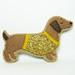Conceited Dachshund Felt Brooch / Aristocratic Dachshund Felt Brooch / Dog Dressed in Gold Glitter T-shirt Felt Brooch / Dog Felt Brooch by hanaletters